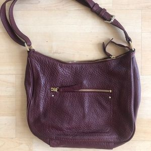 COLE HAAN LEATHER BURGUNDY BAG, crossbody unused